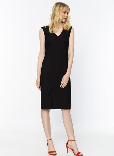 Random V Yaka Midi Elbise Siyah